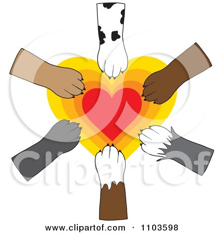 Clipart Dog Paws Placed In Unity Over A Radiating Heart - Royalty Free Vector Illustration by Maria Bell