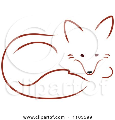 Clipart Cute Red Fox Resting In A Curled Position - Royalty Free Vector Illustration by Maria Bell