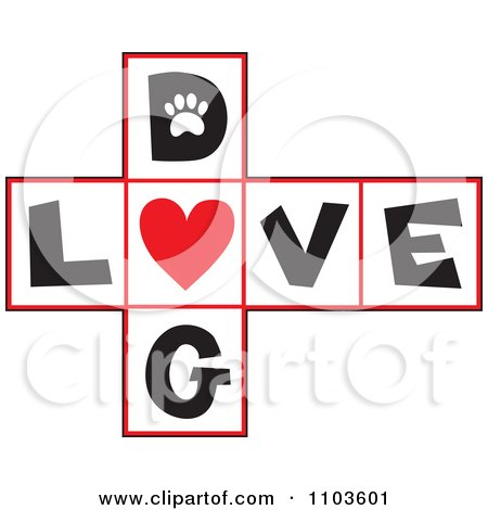 Clipart Hop Scotch Dog Love Layout With A Heart - Royalty Free Vector Illustration by Maria Bell