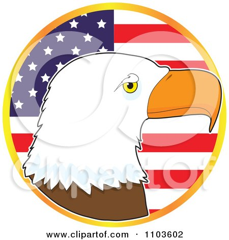 Clipart Bald Eagle Profile Over An American Flag Circle - Royalty Free Vector Illustration by Maria Bell