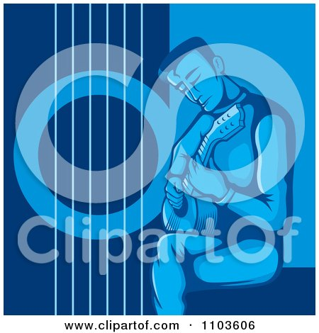 Clipart Seated Male Guitarist And Strumming In Blue - Royalty Free Vector Illustration by Any Vector