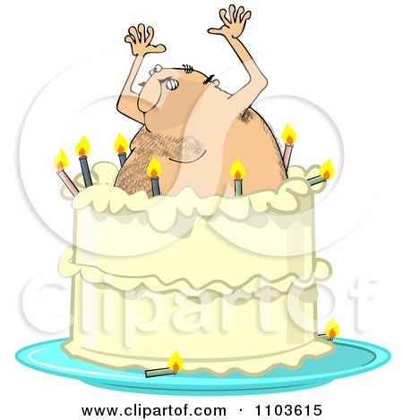 Guy In Speedo Jumping Out Of A Birthday Cake