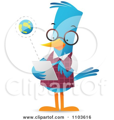 Clipart Smart Bluebird Using A Tablet Computer - Royalty Free Vector Illustration by Qiun