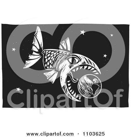 Clipart big fish eating earth in the night sky black and white clipart big fish eating earth in the night sky black and white woodcut royalty free vector illustration by xunantunich thecheapjerseys Choice Image