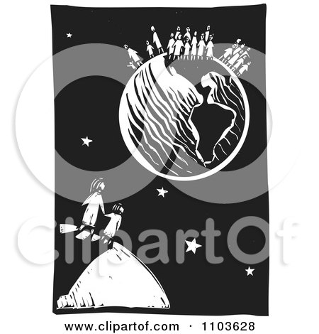 Clipart Mother And Child Watching Other People On Earth Black And White Woodcut - Royalty Free Vector Illustration by xunantunich