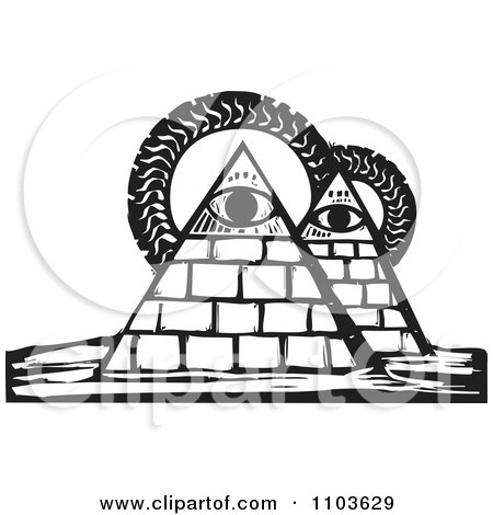 Clipart Pyramids With Eyes And Suns Black And White Woodcut - Royalty Free Vector Illustration by xunantunich