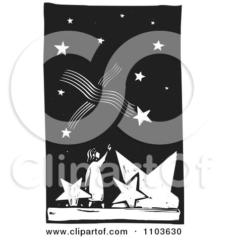 Clipart Girl Pointing Up At Shooting Stars In The Night Sky Black And White Woodcut - Royalty Free Vector Illustration by xunantunich