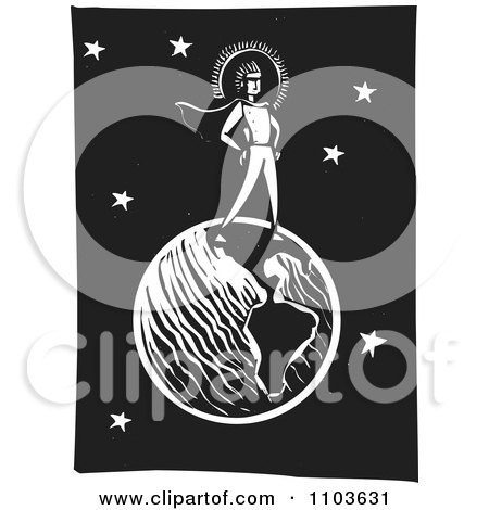 Clipart Super Hero Standing On Earth Against A Night Sky Black And White Woodcut - Royalty Free Vector Illustration by xunantunich
