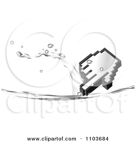 Clipart Hand Computer Cursor And Water Splash On White - Royalty ...