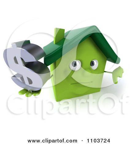 Clipart 3d Green Clay Home Holding A Dollar Symbol And Thumb Down - Royalty Free CGI Illustration by Julos
