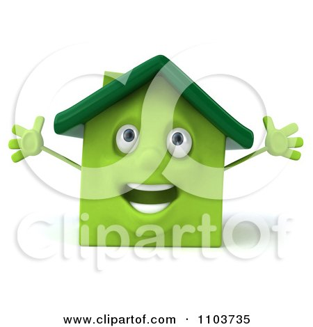 Clipart 3d Happy Green Clay Home - Royalty Free CGI Illustration by Julos