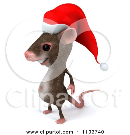 Clipart 3d Christmas Mouse Facing Left - Royalty Free CGI Illustration by Julos