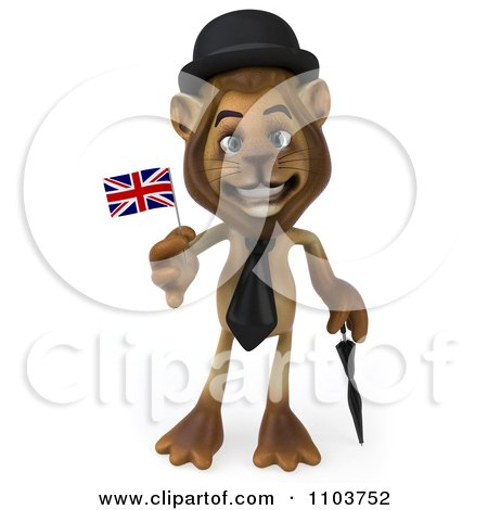 clipart 3d lion character englishman with a british flag