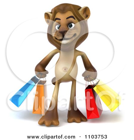 3d Lion Character With Shopping Bags Posters, Art Prints