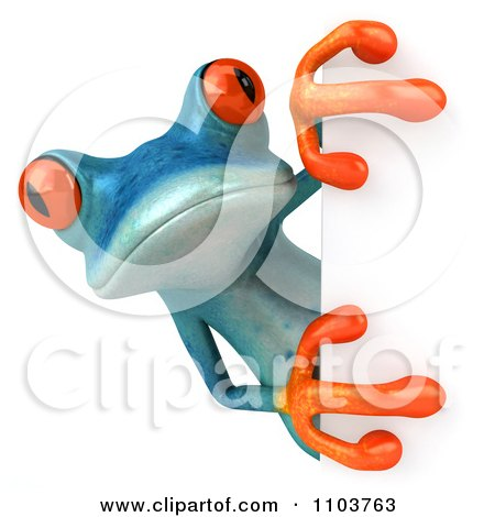 Clipart 3d Turqoise Springer Frog With A Sign 1 - Royalty Free CGI Illustration by Julos