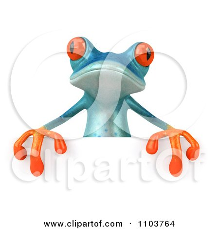 Clipart 3d Turqoise Springer Frog With A Sign 2 - Royalty Free CGI Illustration by Julos