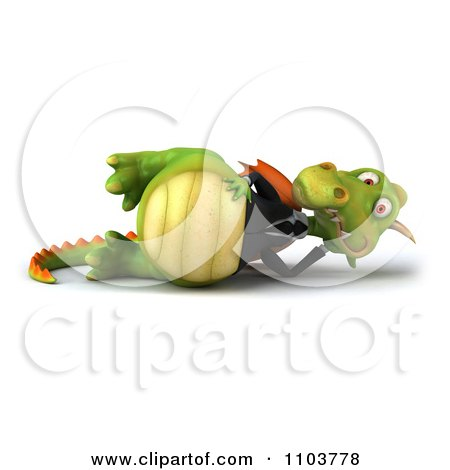 Clipart 3d Green Business Dragon Reclined - Royalty Free CGI Illustration by Julos