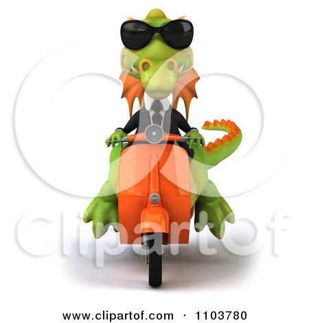 Clipart 3d Green Business Dragon On A Scooter 1 - Royalty Free CGI Illustration by Julos