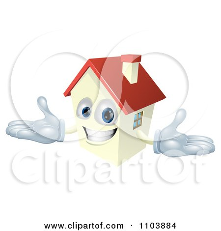 Clipart Happy House Mascot With A Red Roof - Royalty Free Vector Illustration by AtStockIllustration