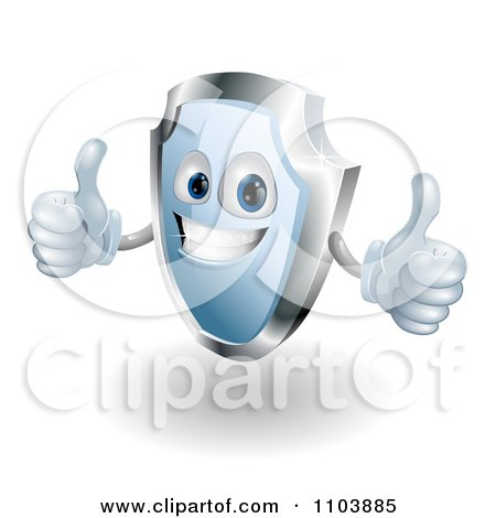 Clipart Shiny 3d Blue Shield Mascot Holding Two Thumbs Up - Royalty Free Vector Illustration by AtStockIllustration