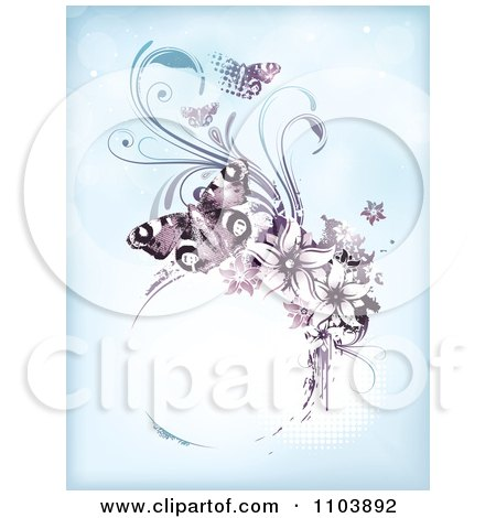 Clipart Blue Background With Purple Butterflies Vines And A Grungy Circle Frame On Halftone - Royalty Free Vector Illustration by TA Images