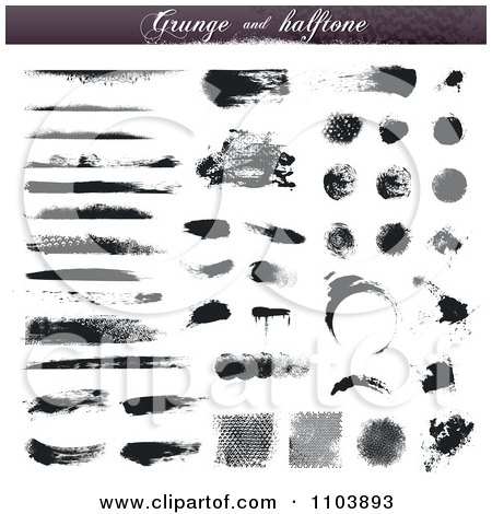 Clipart Black Grungy Ink And Halftone Design Elements - Royalty Free Vector Illustration by TA Images