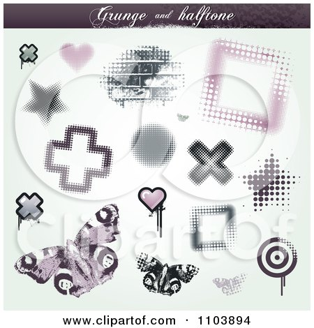 Clipart Grungy Halftone Star Cross Brick Heart Butterfly And Frame Design Elements - Royalty Free Vector Illustration by TA Images
