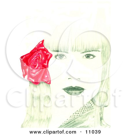Beautiful Young Woman's Face With Bangs and a Red Rose Flower in Her Hair Posters, Art Prints