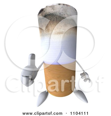 Clipart 3d Tobacco Cigarette Character Holding A Thumb Up - Royalty Free CGI Illustration by Julos