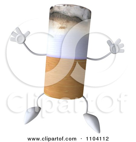 Clipart 3d Tobacco Cigarette Character Jumping - Royalty Free CGI Illustration by Julos