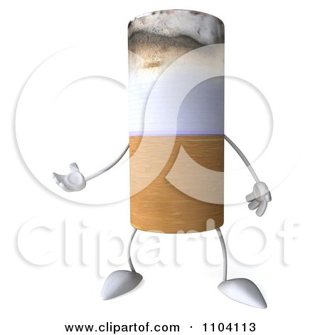 Clipart 3d Tobacco Cigarette Character Gesturing - Royalty Free CGI Illustration by Julos