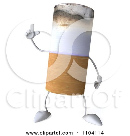 Clipart 3d Tobacco Cigarette Character With An Idea - Royalty Free CGI Illustration by Julos