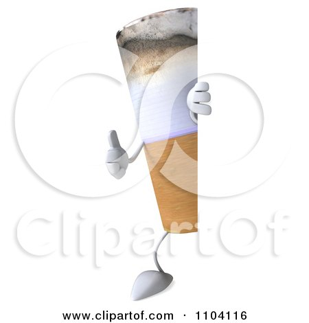 Clipart 3d Tobacco Cigarette Character With A Sign 2 - Royalty Free CGI Illustration by Julos