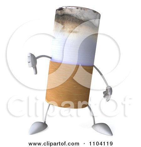 Clipart 3d Tobacco Cigarette Character Holding A Thumb Down - Royalty Free CGI Illustration by Julos