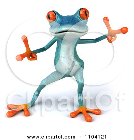 Clipart 3d Turqoise Springer Frog Doing A Happy Dance 2 - Royalty Free CGI Illustration by Julos