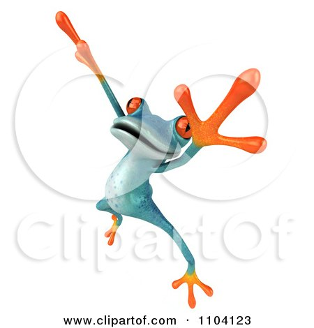 Clipart 3d Turqoise Springer Frog Doing A Happy Dance 4 - Royalty Free CGI Illustration by Julos