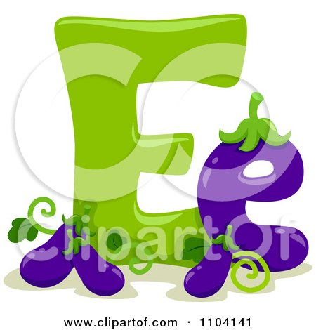 Clipart Capital And Lowercase Letter E With Eggplants - Royalty Free Vector Illustration by BNP Design Studio