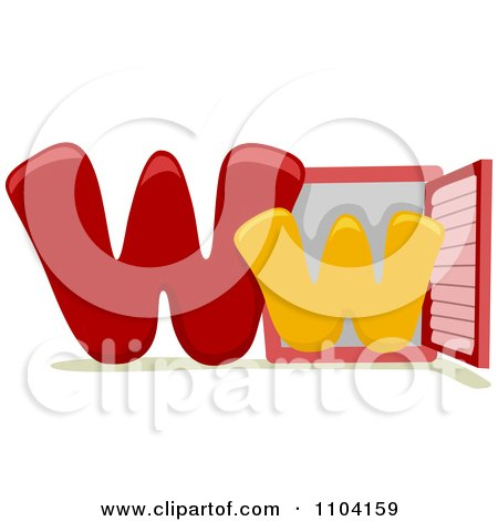 Clipart Capital And Lowercase Letter W With A Window - Royalty Free Vector Illustration by BNP Design Studio