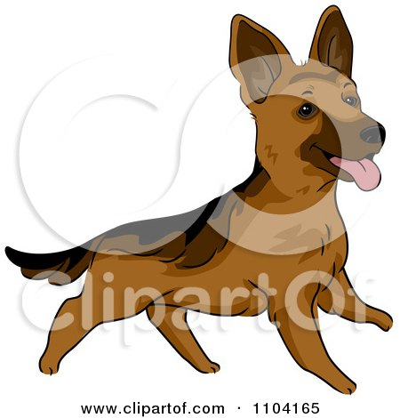 Clipart Happy Playful German Shepherd Dog - Royalty Free Vector Illustration by BNP Design Studio