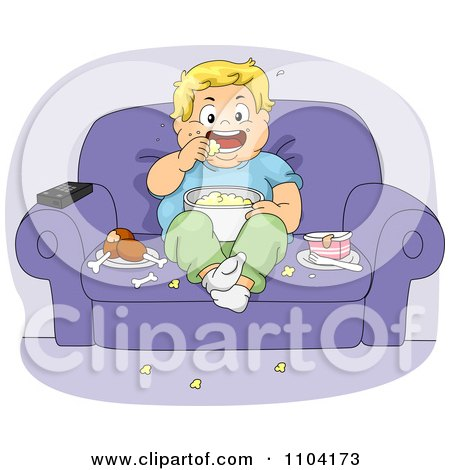 Clipart Overweight Boy Eating Jump Food And Watching Tv In A Chair - Royalty Free Vector Illustration by BNP Design Studio