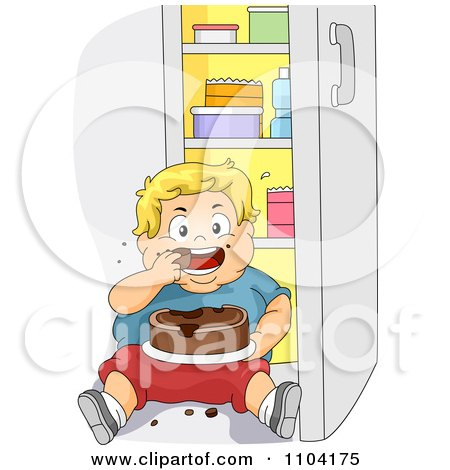 Clipart Overweight Blond Boy Eating Cake In Front Of A Refrigerator - Royalty Free Vector Illustration by BNP Design Studio