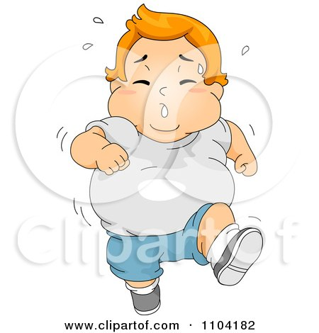 Clipart Overweight Sweaty Boy Running Royalty Free