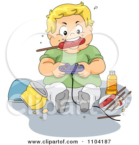 Clipart Overweight Blond Boy Eating A Sausage And Playing Video Games - Royalty Free Vector Illustration by BNP Design Studio