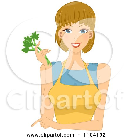 Clipart Beautiful Woman Pointing Wearing A Yellow Apron And Holding Celery - Royalty Free Vector Illustration by BNP Design Studio