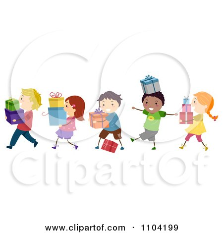 Clipart Happy Diverse Children Carrying Gifts - Royalty Free Vector Illustration by BNP Design Studio