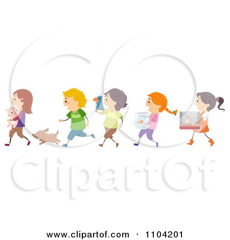 Clipart Happy Children Taking Their Pets To Show And Tell - Royalty Free Vector Illustration by BNP Design Studio