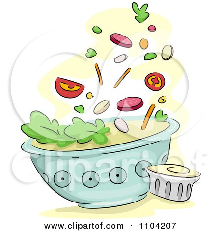 Clipart Salad Toppings Falling Into A Bowl With Dressing On The Side - Royalty Free Vector Illustration by BNP Design Studio