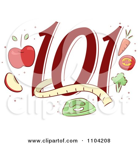 Clipart Weight Loss 101 Icon With Healthy Foods A Scale And A Measuring Tale - Royalty Free Vector Illustration by BNP Design Studio