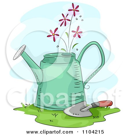 Clipart Pretty Pink Flowers Growing From A Watering Can With A Trowel - Royalty Free Vector Illustration by BNP Design Studio
