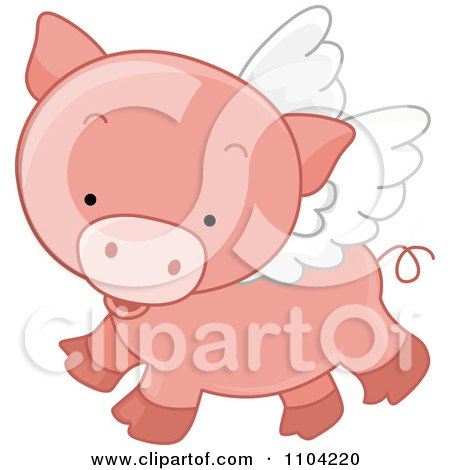 Clipart Cute Winged Pig Flying - Royalty Free Vector Illustration by BNP Design Studio